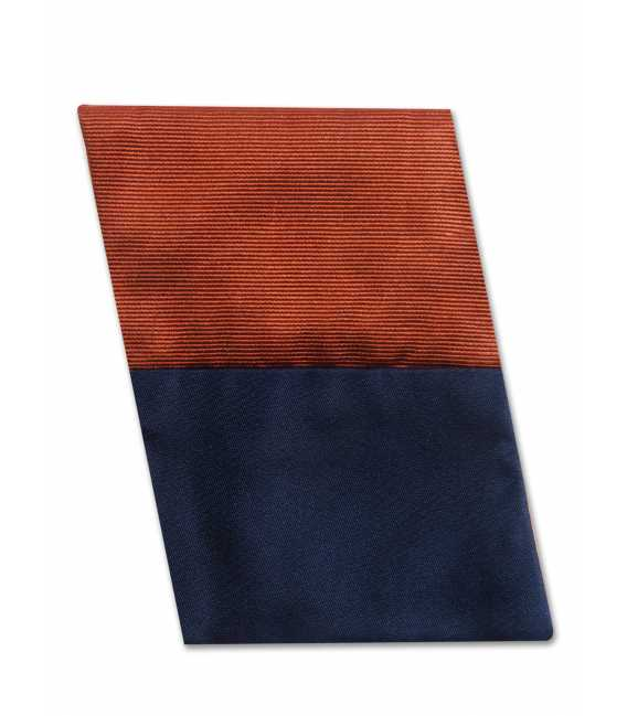 Sleeve suit in pure silk smooth navy reversible orange ribbed