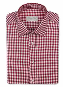 Shirt man slim fit large plaid gingham
