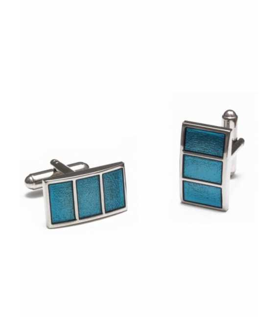 Cufflinks metal and blue resin