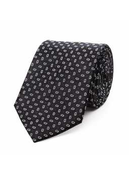 Tie in pure silk black and small motif cashmere