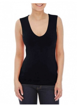 T-shirt woman V-neck sleeveless viscose stretch