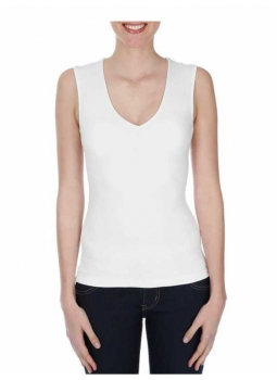 T-shirt femme col V sans manches viscose stretch
