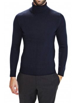 Mens sweater turtleneck ribbed Merino thick