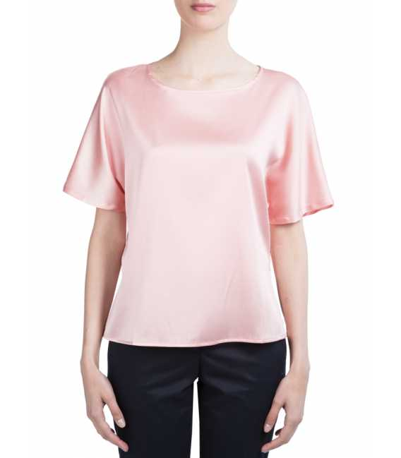 Blouse in silk with round neck with short sleeves