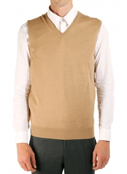 Mens sweater V-neck without sleeve pure merino wool