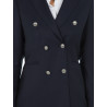 Blazer woman crossover bodices with buttons Silver in pure wool