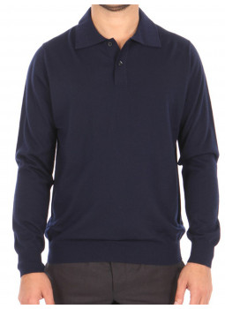 f3a8f0b608b Polo shirt mens 100% cashmere end - Navy blue