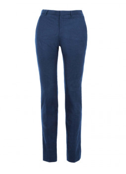 Pantalon David fitté en flanelle de pure laine