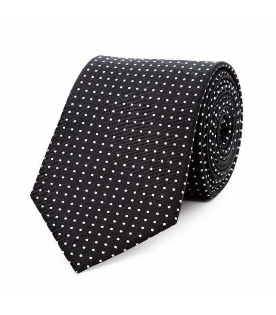 Tie pure silk black silver bullets