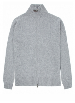 Zipped cardigan man in a fine wool and cashmere