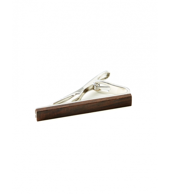 Clip slim tie with wood finishing