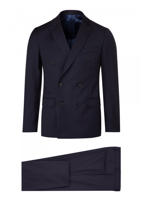 Double-Breasted Pure Wool Fitted Suit